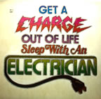 Get A Charge Out of Life Sleep with an electrician Unused Original Vintage T-Shirt Iron-On Heat Transfer