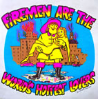 firemen are the world's hottest lovers Unused Original Vintage T-Shirt Iron-On Heat Transfer